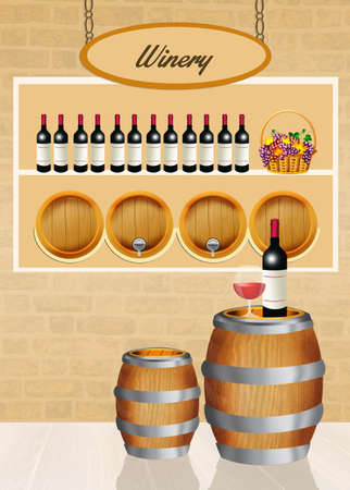 hogshead: illustration of winery