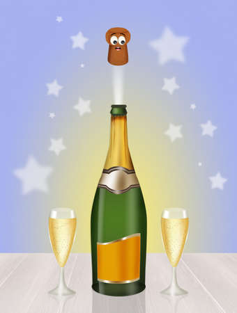 uncork: Champagne celebration for the New Year Stock Photo