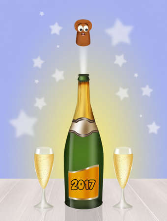 uncork: toast to the new year Stock Photo