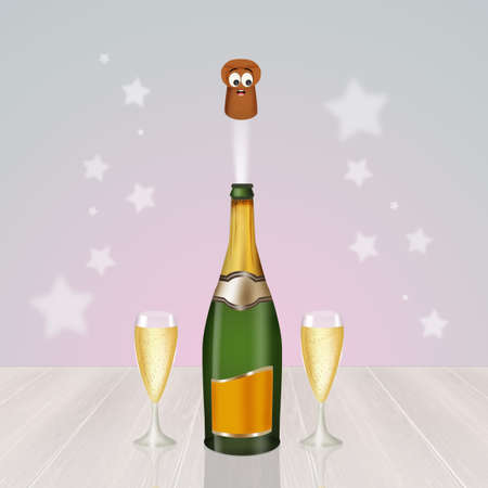 champagne celebration: Champagne celebration for the New Year Stock Photo