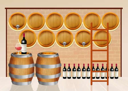 hogshead: wine barrels in the winery Stock Photo
