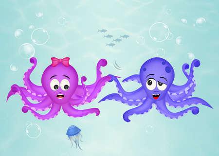 octopus couple in the ocean Stock Photo
