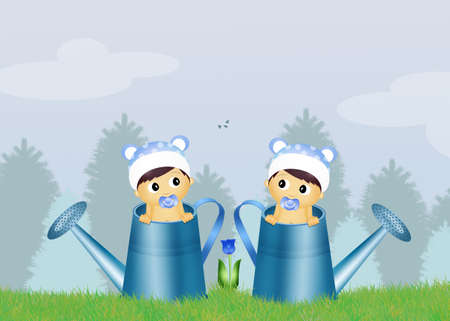 twins: male twins in watering can