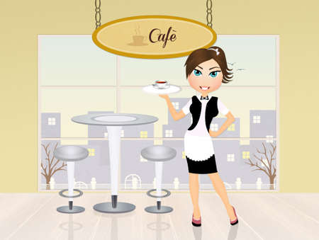 a courtesy: girl serving caf� Stock Photo