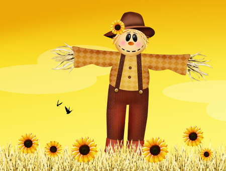 hay field: scarecrow in autumn