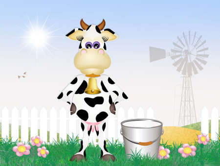 milk pail: cow milking Stock Photo