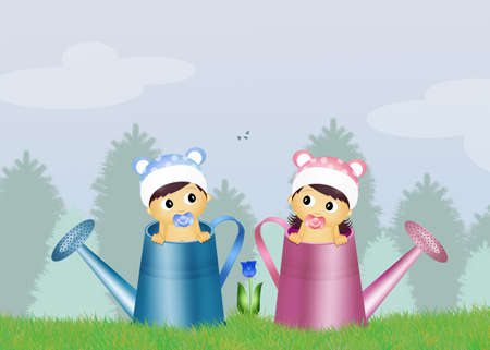 twins in watering can Stock Photo