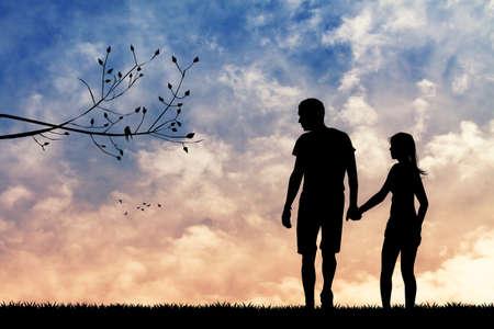 innamorati che si baciano: coppia romantica al tramonto