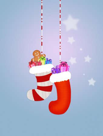 christmas socks: Christmas socks with present