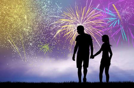 innamorati che si baciano: sera fuochi d'artificio