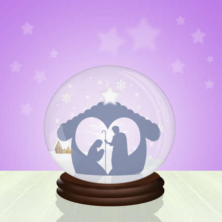 religious celebration: Christmas Nativity scene in the crystal ball Stock Photo