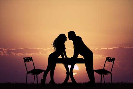 romantic: romantic dinner at sunset