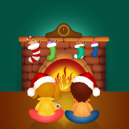 children by the fireplace on Christmas Eve