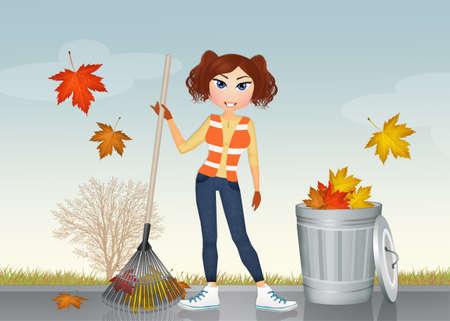 hojas secas: niña recoge las hojas secas Foto de archivo