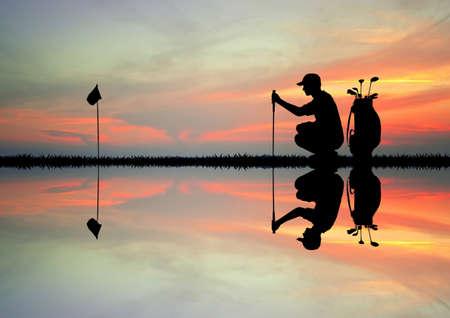 golf player: Golf player at sunset