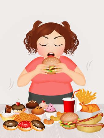 greedy: overweight girl