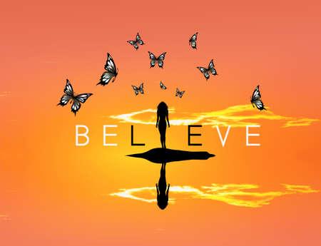 believe: believe with butterflies sunset