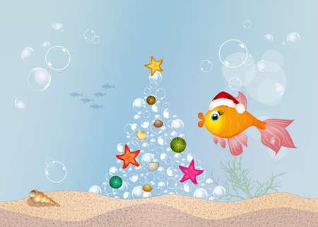 poissons rouges célèbrent Noël