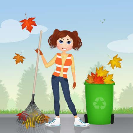 hojas secas: recoger hojas secas