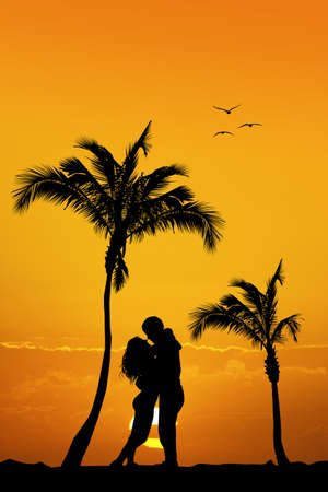 girls kissing: couple kissing on the island