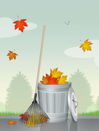sweeper: collect dry leaves in autumn