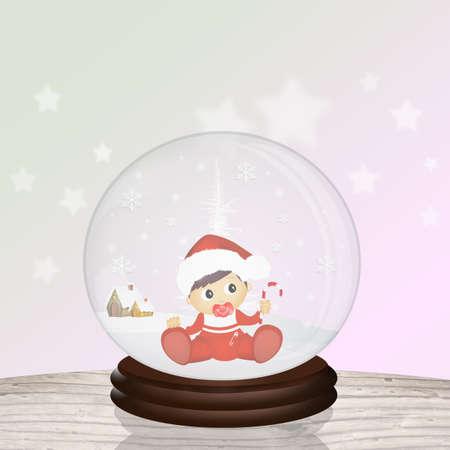 bébé dans la boule de cristal