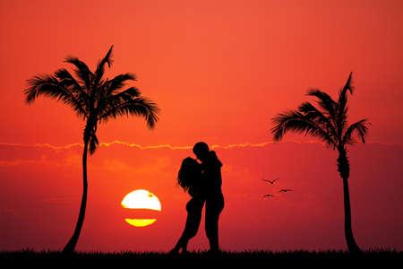 innamorati che si baciano: Gli amanti bacio sull'isola