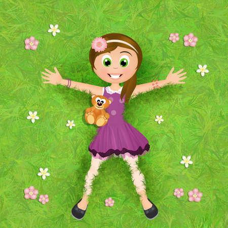 lying in: little girl lying in the grass Stock Photo