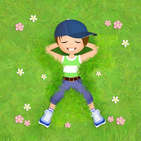 lying: little boy lying in the grass Stock Photo