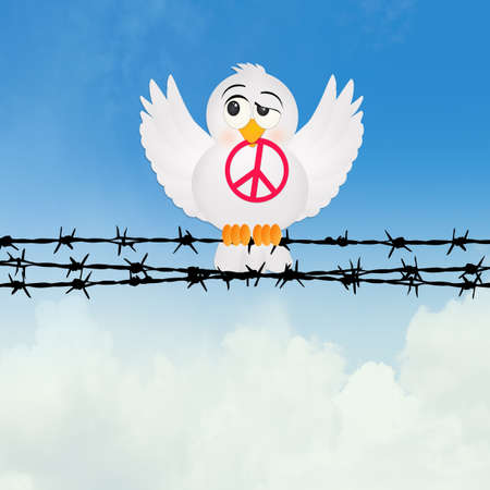 beak doves: dove with peace sign on the barbed wire