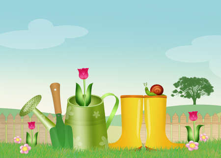 tulips in green grass: illustration of garden objects