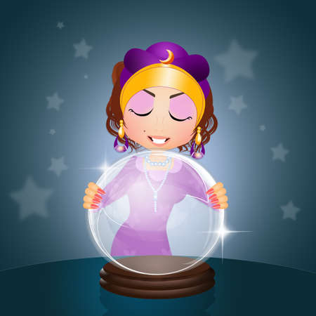clairvoyant: clairvoyant with crystal ball Stock Photo