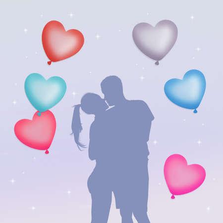 innamorati che si baciano: coppia in amore con il cuore palloncini