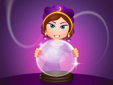clairvoyant with crystal ball Stock Photo