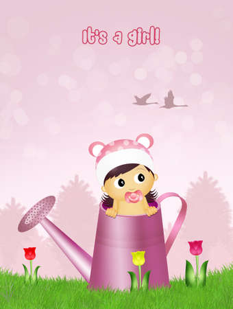 watering can: baby female in watering can
