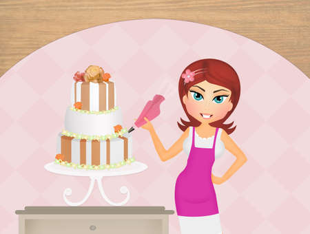 made to order: woman decorating cake Stock Photo