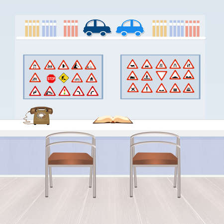school illustration: illustration of driving school