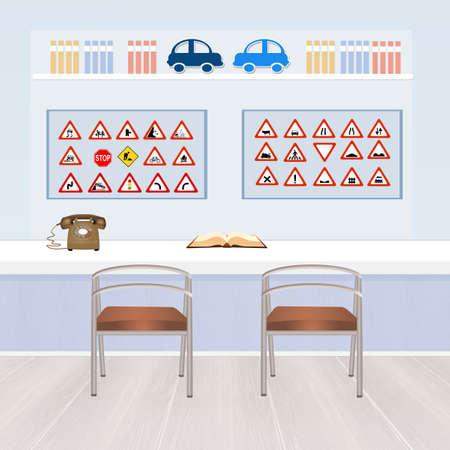 driving school: illustration of driving school