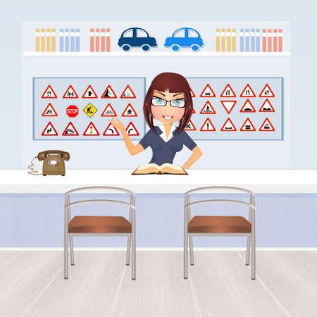 driving school: girl in driving school
