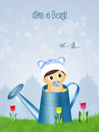 watering can: baby in watering can