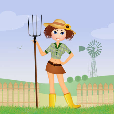 peasant girl in the fields Stock Photo