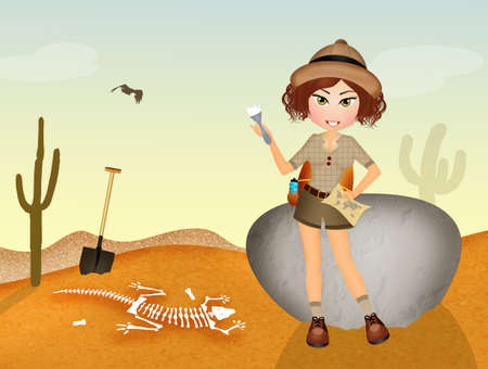 paleontologist: girl archaeologist discovers