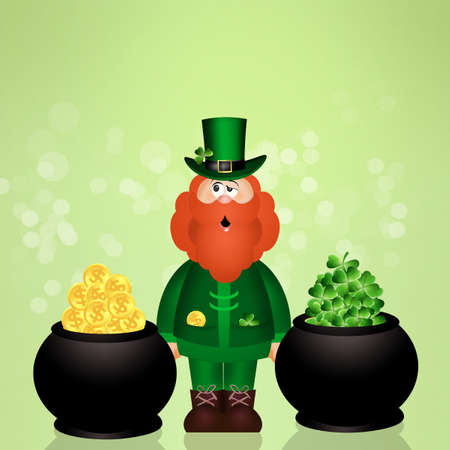 irish culture: man with red beard with four leaf and coins in pot