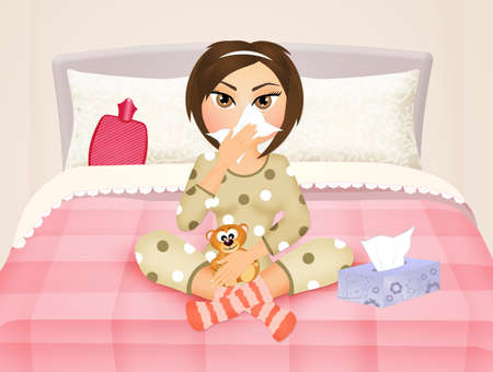 suffer: girl in bed with the flu