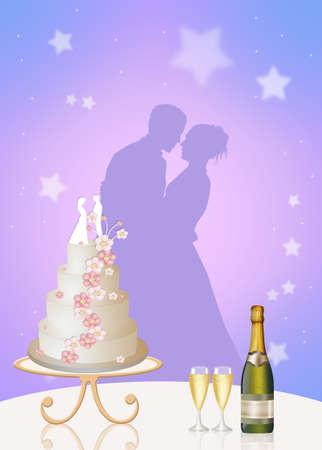 wedding cake: bride and groom and Wedding cake Stock Photo