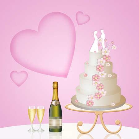 wedding cake: illustration of Wedding cake Stock Photo
