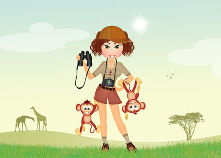 spiteful: girl at the zoo with mischievous monkeys