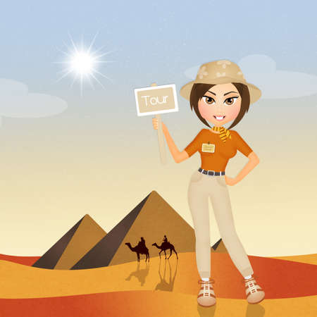 tour guide girl in Egypt Stock Photo