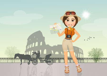 colosseum: tourists visiting the Colosseum