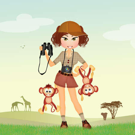 spiteful: girl at the zoo with monkeys